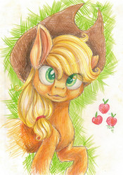 Size: 675x963 | Tagged: applejack, artist:theorderofalisikus, chest fluff, safe, solo, traditional art