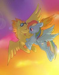 Size: 700x878 | Tagged: safe, artist:lulubell, rainbow dash, spitfire, female, flying, goggles, lesbian, shipping, spitdash