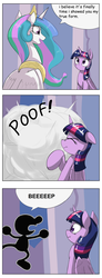 Size: 1737x4737 | Tagged: safe, artist:otakuap, artist:otakuap edit, edit, princess celestia, twilight sparkle, alicorn, pony, celestia's true form, character to character, comic, female, mare, meme, mr. game & watch, transformation, true form, twilight sparkle (alicorn)