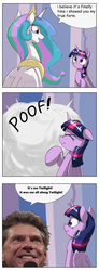 Size: 1024x2793 | Tagged: safe, artist:otakuap edit, princess celestia, twilight sparkle, alicorn, pony, celestia's true form, comic, female, it's me austin, mare, meme, true form, twilight sparkle (alicorn), vince mcmahon, wwe