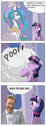 Size: 1024x2793 | Tagged: safe, artist:otakuap, artist:otakuap edit, edit, princess celestia, twilight sparkle, alicorn, pony, british, bruce forsyth, celestia's true form, comic, female, game show, host, mare, television, transformation, twilight sparkle (alicorn)