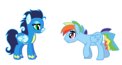 Size: 1139x607 | Tagged: safe, artist:celinesparkle, rainbow dash, soarin', blushing, female, glide, glideblitz, male, rainbow blitz, rule 63, shipping, soarindash, straight, wonderbolts uniform
