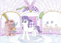 Size: 2338x1653 | Tagged: safe, artist:epicalaxy master, rarity, carousel boutique, clothes, drawing, dress, levitation, thread, traditional art