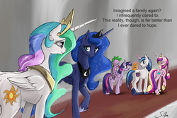 Size: 3000x2000 | Tagged: safe, artist:silfoe, princess cadance, princess celestia, princess luna, shining armor, spike, twilight sparkle, alicorn, dragon, pony, unicorn, royal sketchbook, alicorn tetrarchy, baby, baby dragon, brother and sister, canterlot, crown, cute, cutedance, cutelestia, dialogue, female, happy, heartwarming, jewelry, levitation, looking at each other, lunabetes, magic, male, mare, necklace, ogres and oubliettes, open mouth, raised hoof, regalia, royal family, shining adorable, siblings, signature, silfoe is trying to murder us, sisters, sisters-in-law, smiling, spikabetes, stallion, sweet dreams fuel, telekinesis, twiabetes, twilight sparkle (alicorn), unshorn fetlocks, walking, wall of tags