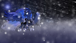 Size: 1920x1080 | Tagged: safe, artist:mrflabbergasted, artist:sgtwaflez, princess luna, solo, wallpaper, winter