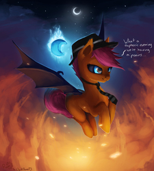 Size: 3379x3750 | Tagged: safe, artist:rain-gear, scootaloo, bat pony, pony, bedroom eyes, black sclera, blank flank, blue eyes, euphoric, featured image, female, filly, fire, fluffy, flying, hat, m'lady, moon, necktie, night, race swap, scootabat, smiling, solo, spread wings, student of the night, trilby