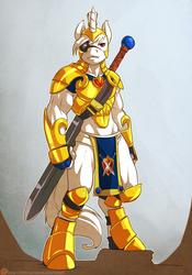 Size: 840x1200 | Tagged: safe, artist:atryl, oc, oc only, oc:ultima, unicorn, anthro, unguligrade anthro, albino, armor, eyepatch, guard, loincloth, male, solo, sword, unconvincing armor