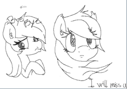 Size: 878x616   Tagged: safe, artist:opnioc, oc, oc only, oc:aryanne, black and white, bust, emotion, flockmod, frown, grayscale, holding hooves, looking away, looking up, monochrome, portrait, sad, sketch
