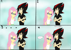 Size: 2160x1540 | Tagged: safe, artist:soul-yagami64, fluttershy, equestria girls, crack shipping, crossover, equestria girls-ified, humanized, shadow the hedgehog, sonic the hedgehog (series), stare