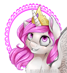 Size: 450x491 | Tagged: artist:missperson, cewestia, chest fluff, filly, grin, looking up, portrait, princess celestia, safe, solo