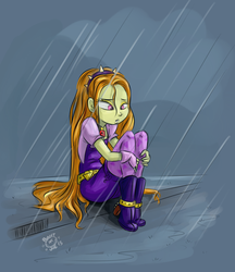 Size: 1672x1932 | Tagged: safe, artist:ponut_joe, adagio dazzle, equestria girls, rainbow rocks, addolorato dazzle, antagonist, boots, discussion, discussion in the comments, female, gem, lonely, rain, sad, shoes, siren gem, sitting, solo, wet, wet hair