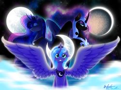 Size: 4000x2962 | Tagged: safe, artist:fuyusfox, nightmare moon, princess luna, lunar trinity, s1 luna, self ponidox, spread wings