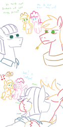 Size: 800x1600 | Tagged: safe, artist:jargon scott, applejack, big macintosh, maud pie, pinkie pie, earth pony, pony, exclamation point, eye contact, eyes closed, female, frown, gay, half r63 shipping, hug, interrobang, kissing, lidded eyes, looking at each other, macinmaud, male, mare, mull berry, open mouth, possible incest, question mark, rule 63, shipping, shocked, smiling, stallion, surprised, wide eyes