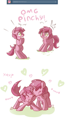 Size: 800x1470 | Tagged: safe, artist:haute-claire, ruby pinch, pony, ask ruby pinch, ask, bipedal, blushing, comic, cute, eyes closed, floppy ears, fluffy, heart, nuzzling, open mouth, pinchybetes, self ponidox, smiling, solo, tumblr, wide eyes