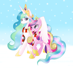 Size: 2275x2123 | Tagged: safe, artist:muchigirl, princess cadance, princess celestia, clothes, hug, scarf, snow, snowfall, winghug