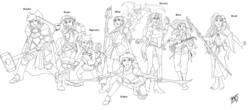 Size: 2273x1000 | Tagged: safe, artist:mono-phos, applejack, fluttershy, pinkie pie, rainbow dash, rarity, spike, sunset shimmer, twilight sparkle, human, adventurers, adventuring party, apprentice, armor, bard, barefoot, black and white, breasts, cleavage, crossover, druid, dungeons and dragons, fantasy, fantasy class, feet, female, fighter, flutterdruid, grayscale, group, humanized, knight, lineart, mage, mane seven, mane six, monochrome, paladin, party, rogue, roleplay, roleplaying, sword, warlock, warrior, weapon