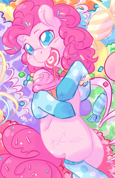 Size: 478x736 | Tagged: safe, artist:mlpfwb, pinkie pie, candy, clothes, colored pupils, cupcake, cute, diapinkes, female, food, lollipop, missing cutie mark, on back, socks, solo