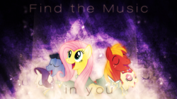 Size: 1920x1080 | Tagged: safe, artist:mithandir730, big macintosh, fluttershy, rarity, toe-tapper, torch song, earth pony, pony, eyes closed, glow, male, music notes, ponytones, ponytones outfit, singing, song reference, stallion, vector, wallpaper