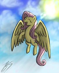 Size: 1600x2000 | Tagged: safe, artist:blablashmo, fluttershy, eyes closed, flying, solo