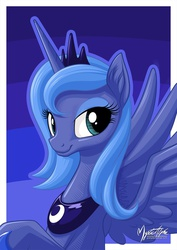 Size: 955x1351   Tagged: safe, artist:mysticalpha, princess luna, alicorn, pony, bedroom eyes, bust, female, looking at you, mare, portrait, s1 luna, smiling, solo