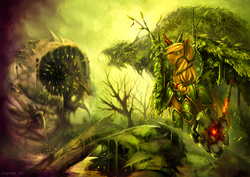 Size: 1750x1237 | Tagged: safe, artist:eosphorite, applejack, alicorn, pony, sandworm, alicornified, apple tree, applecorn, armor, awesome, badass, color porn, element of honesty, epic, everfree forest, hammer, race swap, scenery porn, war hammer, weapon