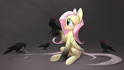 Size: 1920x1080 | Tagged: safe, artist:underpable, part of a set, fluttershy, bird, crow, pegasus, pony, bioshock, bioshock infinite, crossover, cute, eye contact, female, glowing eyes, gradient background, gray background, long tail, looking at each other, mare, murder of crows, raised hoof, simple background, sitting, smiling, underhoof, vigor, wallpaper