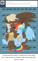 Size: 1124x1799   Tagged: safe, artist:dbkit, dumbbell, rainbow dash, ask, cider, drunk, dumbdash, female, laughing, male, shipping, straight, tumblr