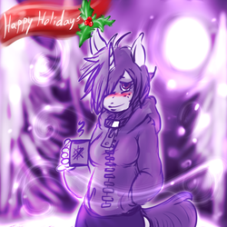Size: 720x720 | Tagged: safe, artist:fu-do, oc, oc only, oc:violet poe, anthro, anthro oc, blushing, christmas, coffee mug, freckles, holiday, purple, snow, snowfall, winter