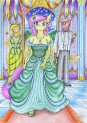 Size: 3475x4915 | Tagged: safe, artist:sinaherib, applejack, big macintosh, fluttershy, anthro, breasts, cleavage, clothes, dignified wear, dress, female, fluttermac, gala dress, male, shipping, straight, traditional art, tuxedo