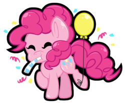 Size: 1024x849 | Tagged: safe, artist:j-lin-mlp, pinkie pie, balloon, chibi, simple background, solo, transparent background