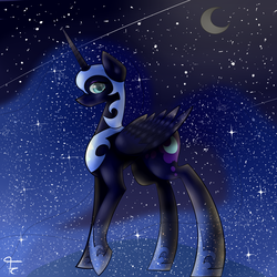 Size: 3000x3000 | Tagged: safe, artist:flowing-colors, nightmare moon, crescent moon, solo, space, stars