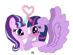 Size: 1280x960 | Tagged: safe, artist:flutter-cat, starlight glimmer, twilight sparkle, alicorn, pony, female, foe yay, horns are touching, lesbian, mare, shipping, twilight sparkle (alicorn), twistarlight