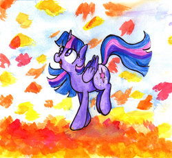 Size: 1280x1180 | Tagged: safe, artist:whale, twilight sparkle, alicorn, pony, autumn, female, happy, leaves, looking up, mare, open mouth, smiling, solo, traditional art, twilight sparkle (alicorn)