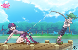 Size: 1600x1030 | Tagged: safe, artist:mauroz, spike, twilight sparkle, human, parasprite, all fours, angry, anime, anime style, ass, assisted exposure, belt, blushing, butt, cargo shorts, clothes, cloud, comedy, denim shorts, docks, embarrassed, female, fishing, fishing hook, fishing rod, hairband, hook, horn, humanized, looking back, lure, male, multicolored hair, outdoors, panties, panting, pulling, purple eyes, shirt, shoes, shorts, side view, sneakers, socks, sweat, t-shirt, tree, underwear, undressing, watermark, white underwear, wristband