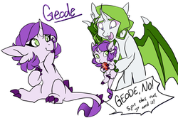 Size: 1100x729 | Tagged: artist:skitea, baby, baby pony, brother and sister, dracony, gem, hybrid, interspecies offspring, oc, oc:geode, oc only, oc:tanzanite, offspring, parent:rarity, parent:spike, parents:sparity, pony, safe