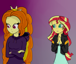 Size: 1213x1019 | Tagged: safe, artist:mit-boy, adagio dazzle, sunset shimmer, equestria girls, clothes, crossed arms, crying, duo, hands together, hoodie, leather jacket, long hair