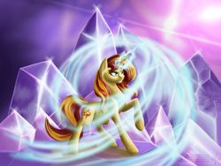 Size: 1600x1200 | Tagged: safe, artist:adalbertus, sunset shimmer, pony, unicorn, crystal, magic, raised hoof, solo