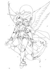 Size: 3503x5000 | Tagged: safe, artist:longinius, princess luna, alicorn, anthro, unguligrade anthro, armor, crying, female, flower, grayscale, lineart, monochrome, scythe, solo, spread wings, unshorn fetlocks, warrior luna, weapon