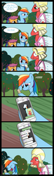 Size: 1700x5500 | Tagged: safe, artist:pandramodo, big macintosh, rainbow dash, scootaloo, earth pony, pony, brotherhooves social, comic, crossdressing, iphone, male, orchard blossom, rainbow douche, stallion, whatsapp