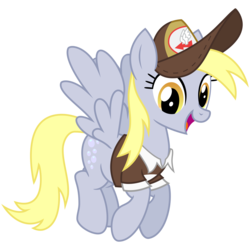 Size: 2000x2000 | Tagged: safe, artist:cheezedoodle96, derpy hooves, pegasus, pony, crusaders of the lost mark, .svg available, clothes, cute, delivery pony, female, flying, happy, hat, looking at you, mailmare, mare, open mouth, simple background, smiling, solo, spread wings, svg, transparent background, underp, uniform, vector