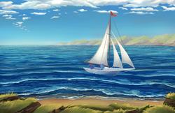 Size: 4590x2970 | Tagged: safe, artist:viwrastupr, oc, oc only, oc:gyro tech, oc:seaward skies, pegasus, pony, unicorn, absurd file size, beach, boat, cloud, ocean, sailboat, sailing, scenery, seascape, shipping, shore, sky, smiling, wave