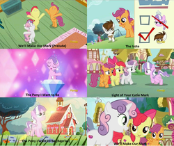 Size: 1280x1077 | Tagged: safe, apple bloom, diamond tiara, dinky hooves, liza doolots, petunia, pipsqueak, ruby pinch, scootaloo, sweetie belle, tootsie flute, crusaders of the lost mark, cutie mark, cutie mark crusaders, lens flare, ponyville schoolhouse, school, sun, the cmc's cutie marks, youtube link