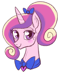 Size: 384x446 | Tagged: alicorn, alternate hairstyle, artist:lulubell, blushing, bow, bowtie, bust, female, mare, pony, ponytail, portrait, princess cadance, safe, simple background, solo, white background