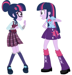 Size: 6854x7200 | Tagged: safe, artist:greenmachine987, sci-twi, twilight sparkle, equestria girls, friendship games, absurd resolution, clothes, crystal prep academy, crystal prep academy uniform, crystal prep shadowbolts, duo, face to face, glasses, long hair, open mouth, photoshop, pleated skirt, school uniform, shocked, simple background, skirt, transparent background, twilight sparkle (alicorn), twolight, vector, waving