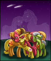 Size: 2771x3316 | Tagged: apple bloom, applejack, applejack's parents, artist:stormblaze-pegasus, big macintosh, bittersweet, crusaders of the lost mark, crying, cutie mark, earth pony, granny smith, male, night, pony, safe, shooting stars, stallion, tears of joy, the cmc's cutie marks