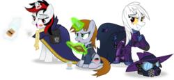 Size: 5086x2336 | Tagged: safe, artist:vector-brony, mare do well, oc, oc:blackjack, oc:boo, oc:littlepip, pony, unicorn, fallout equestria, fallout equestria: project horizons, blushing, book, bottle, cloak, clothes, fanfic, fanfic art, female, glowing horn, horn, levitation, magic, mare, pipbuck, pipleg, saddle bag, simple background, telekinesis, transparent background, vault suit, wild pegasus