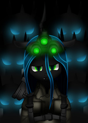 Size: 500x700 | Tagged: safe, artist:galliromanov, queen chrysalis, changeling, armor, glowing eyes, looking at you, night vision goggles, solo, splinter cell