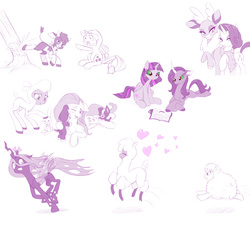 Size: 2226x2000 | Tagged: safe, artist:dstears, angel bunny, applejack, arizona cow, fluttershy, oleander, paprika paca, pom lamb, queen chrysalis, rarity, twilight sparkle, velvet reindeer, oc, oc:fluffle puff, alicorn, alpaca, classical unicorn, cow, deer, lamb, pony, reindeer, sheep, them's fightin' herds, bandana, chase, cloven hooves, community related, cowboy hat, crossover, curved horn, dark magic, female, hat, heart, kicking, leonine tail, magic, mare, monochrome, pronking, puppy, running, scrunchy face, sketch, sketch dump, tree, twilight sparkle (alicorn), unicornomicon