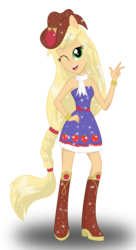 Size: 1872x3440 | Tagged: applejack, artist:deannaphantom13, bare shoulders, clothes, cowboy hat, dress, equestria girls, fall formal outfits, hat, looking at you, open mouth, peace sign, ponied up, safe, simple background, sleeveless, smiling, solo, strapless, transparent background, wink