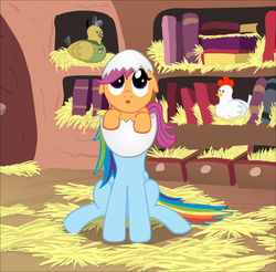 Size: 1497x1475 | Tagged: safe, artist:ultrathehedgetoaster, daring do, rainbow dash, scootaloo, bird pone, chicken, :o, dilated pupils, egg, egghead, floppy ears, hatching, looking up, scootachicken, sitting, wat